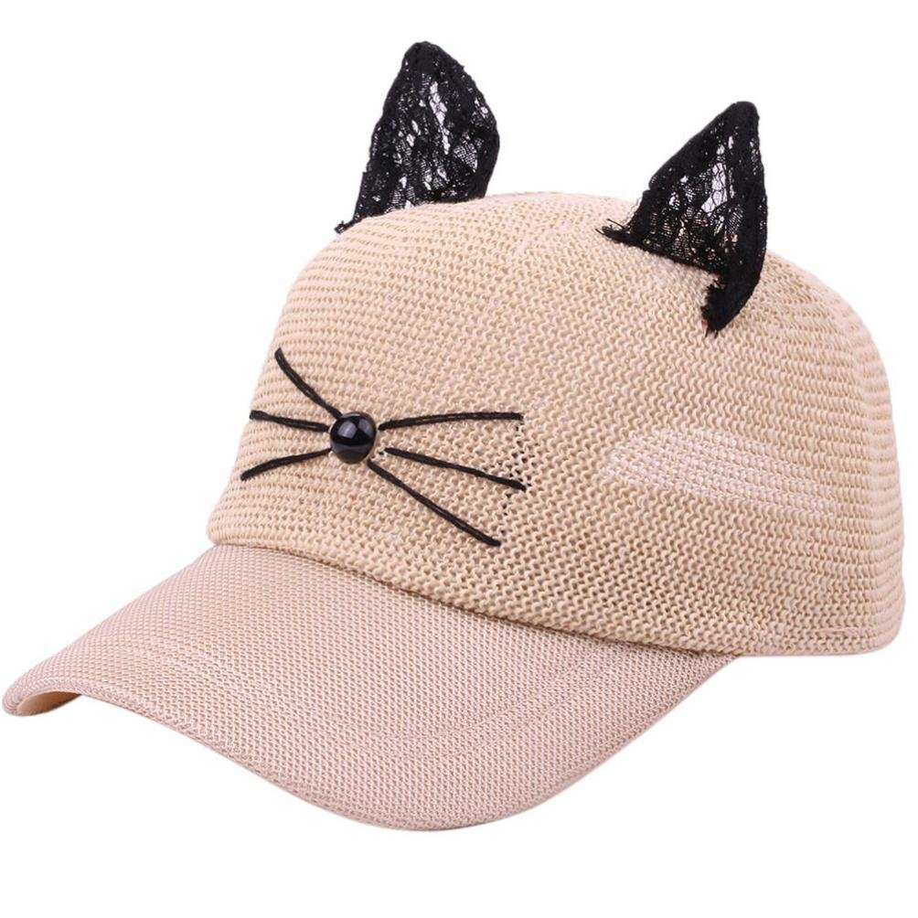 268fc68a57f635 Spbamboo Women Men Girls Cat Adjustable Casual Cute Linen Baseball Mesh Cap  Hat at Amazon Women's Clothing store: