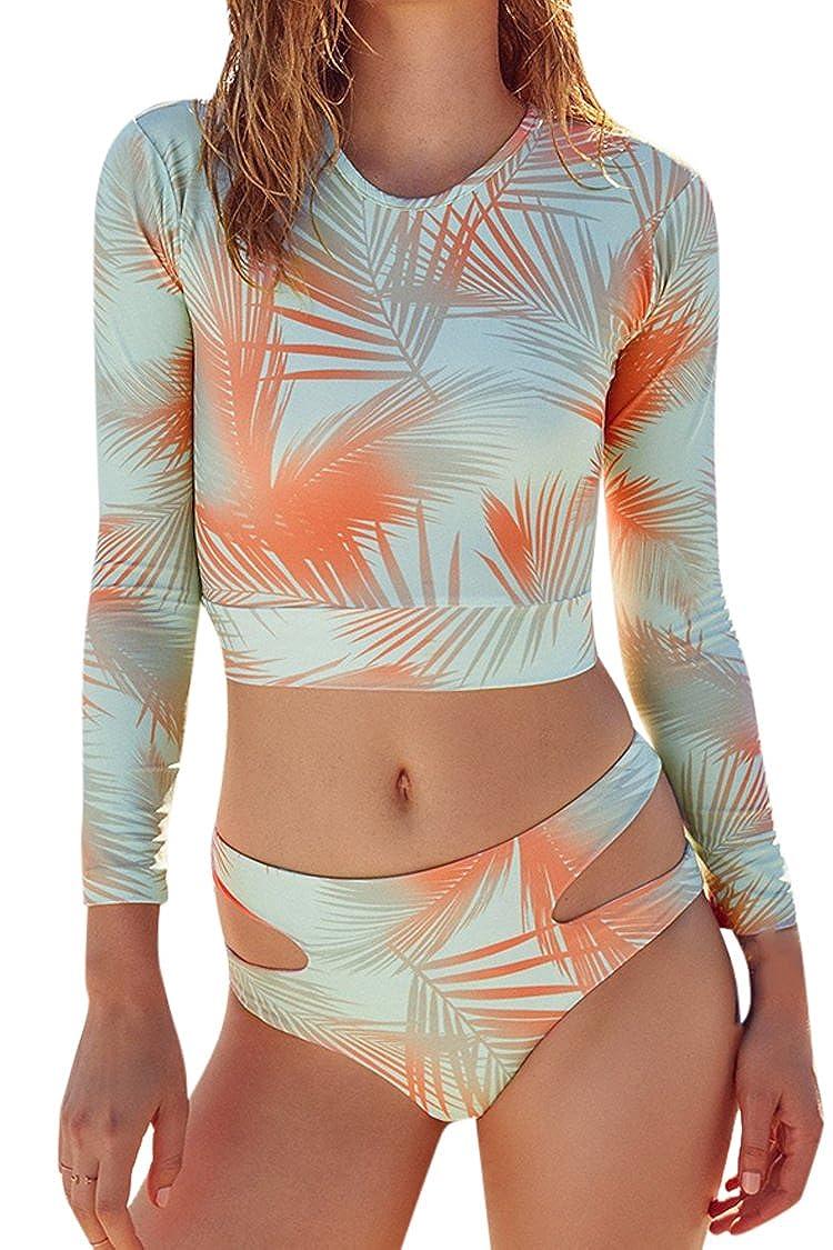 Kisscy Women's Printed Long Sleeve UV Protection Rash Guard Swimwear Beachwear KPSW5294