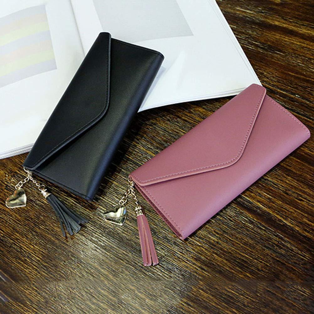 Aland Solid Color Faux Leather Women Long Purse Card Cash Holder Envelope Clutch Bag Purple by Aland (Image #4)