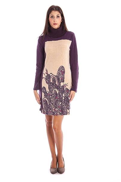 AW12-MAR-42 Vestido corto Mujer violeta BEIGE XL