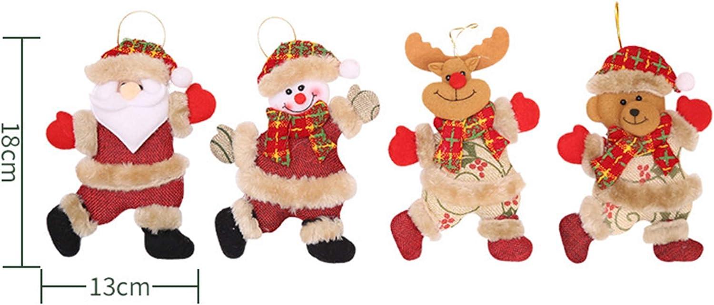 Schneespitze 4 Pezzi Ornamenti per Albero di Natale,Natale Decorazioni,Regalo di Natale,Ciondolo Appeso Orso di Alce Pupazzo di Neve di Santa