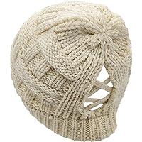 SWEDREAM Hästsvans mössa mössa vinter varm stickad mössor utomhus döskallar hattar baseballkeps stökig bulle hatt…