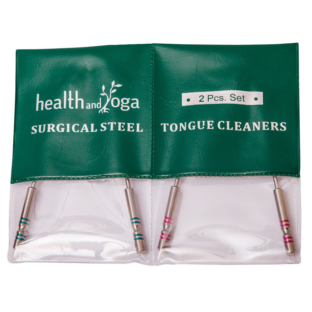 HealthAndYoga(TM) Surgical Steel Tongue Cleaners - 2 Pcs. Set | Sterilizable | Distinct Identifying Color on Hygienic Steel Grips Soulgenie