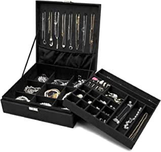 ProCase Jewelry Box Organizer for Women, Two Layer Jewelry Display Storage Case with 8 Necklace Hangers and Removable Partition for Earrings Bracelets Rings Watches