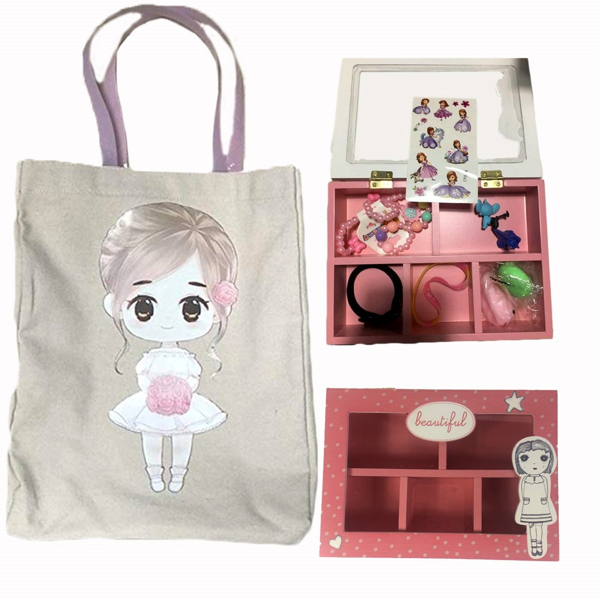 FLOWER Girl Wedding Birthday Christmas Favors Gift Tote Bag Cotton with Beautiful Wood Trinket Box full of toys favors girls jewelry headbands by Global Huntress (Image #8)