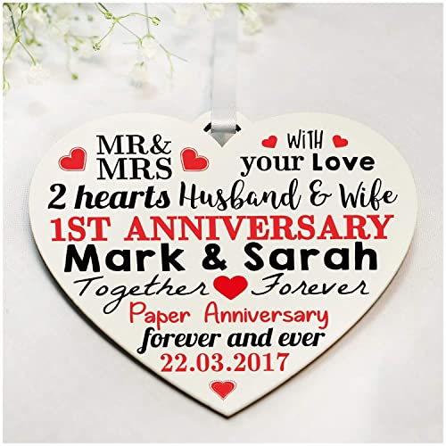 1st Wedding Anniversary Gifts Personalised Printed Wooden Heart First Anniversary Presents Perfect For Husband Wife Or Couples Any Anniversary 1st 2nd 5th 10th 25th 30th 40th 50th Amazon Co Uk Handmade