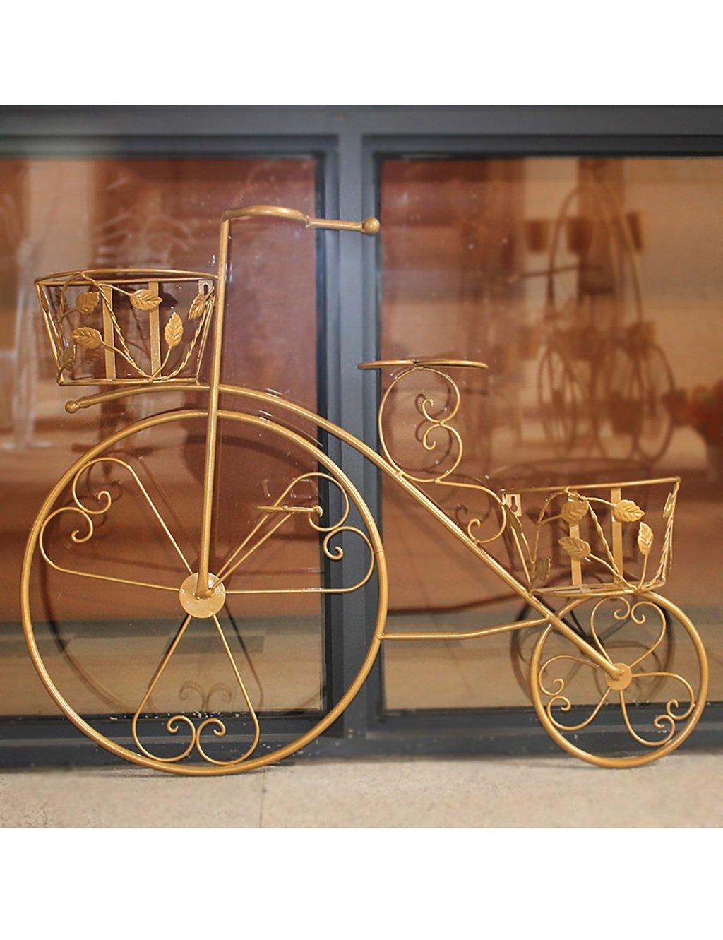 Kreative Eisen Multilayer Fahrrad Blumenständer Europäischen Stil Verstärkung fett Montage Blumenregal Balkon Boden Pflanzer Regal Einfache moderne Wohnzimmer Indoor Flower Rack (3 Styles verfügbar) ( farbe : C )