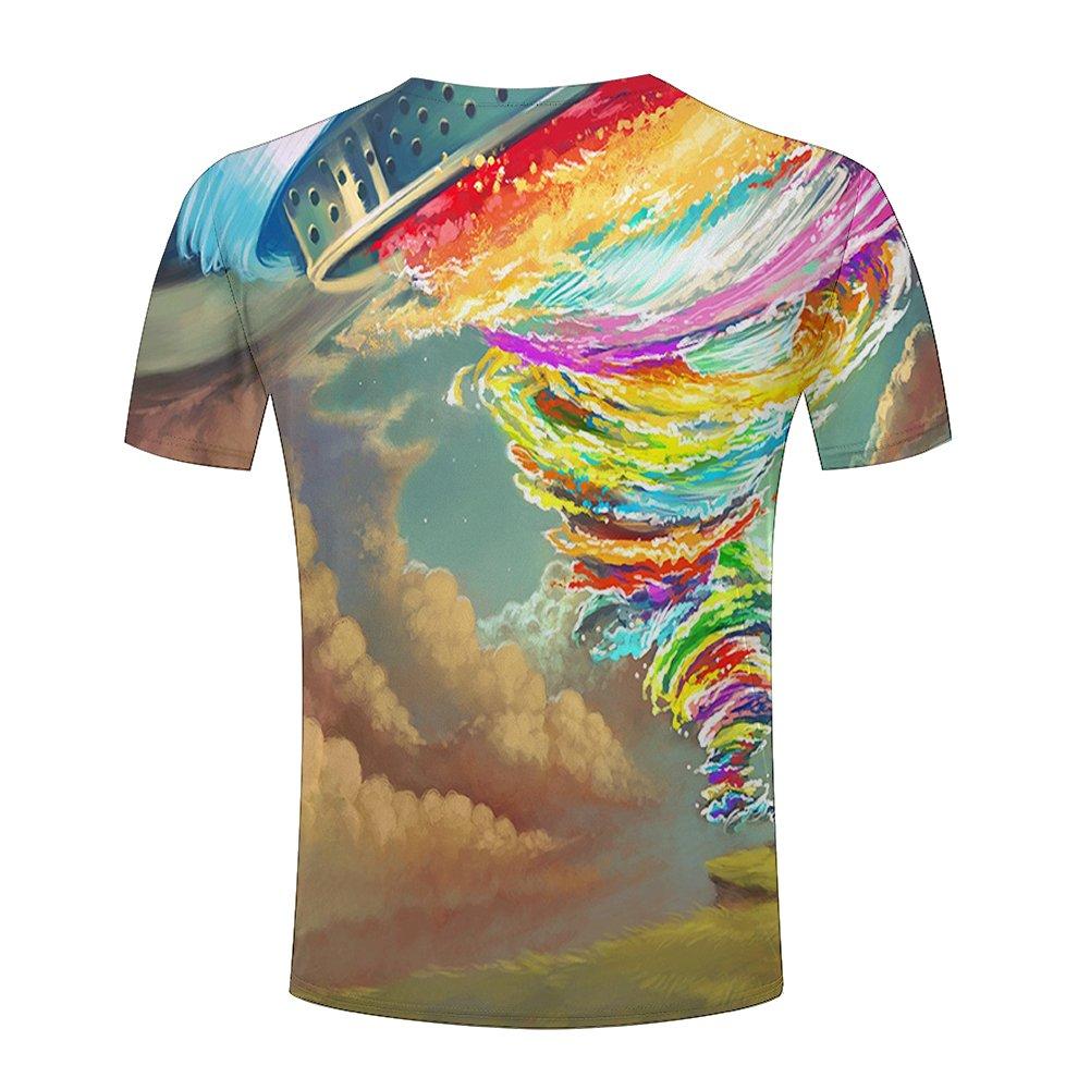 5ba5a8b52576 lingshirt Unisex Men Colorful Tornado Funny 3D Printed T-Shirt S-XXXL   Amazon.co.uk  Clothing