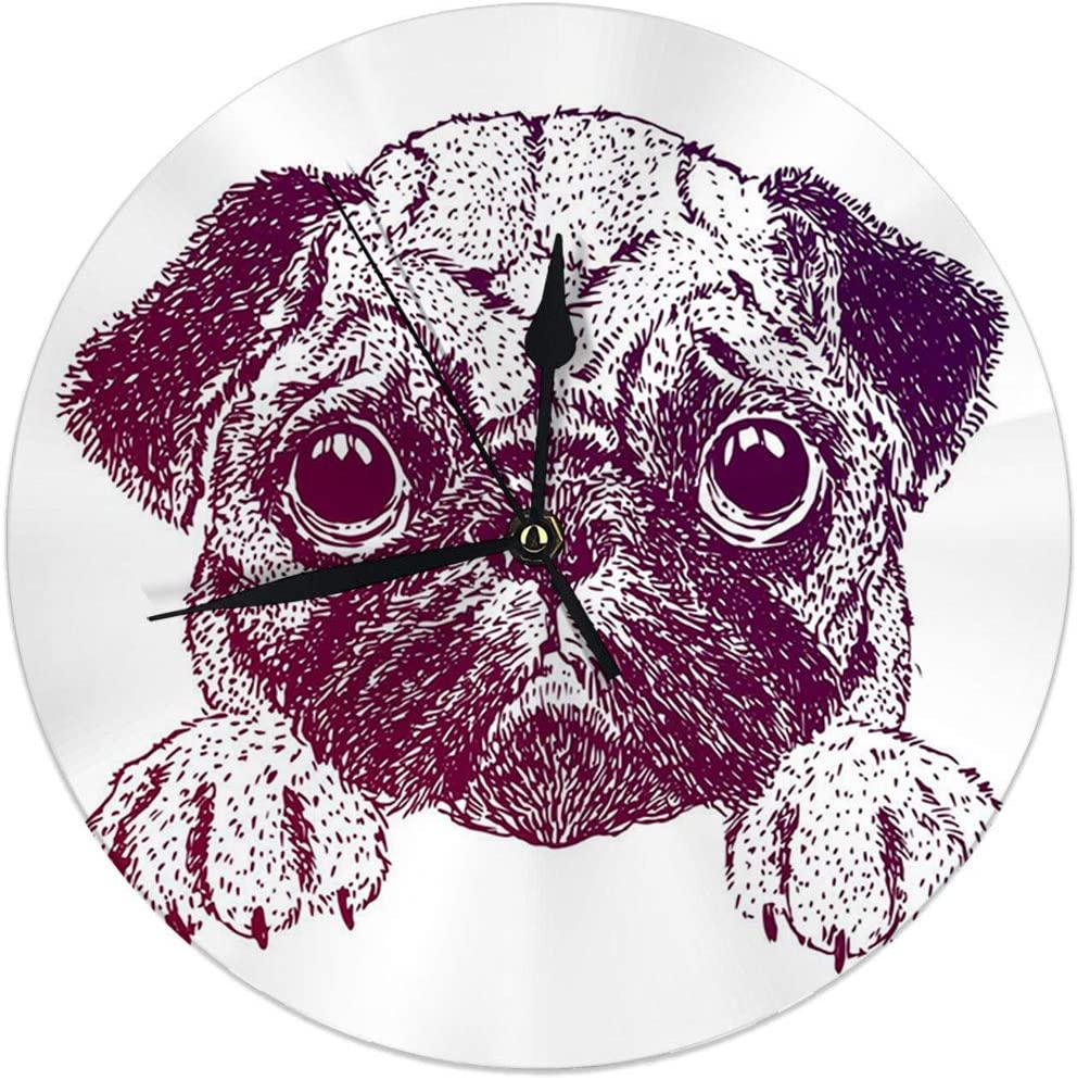 FETEAM Reloj de Pared sin Tic-TAC 9.8 'Pulgadas Divertido Pug Sketch of Puppy Reloj Redondo Digital