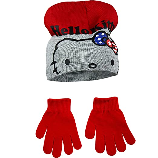 354cbd06fa3 Amazon.com  Hello Kitty Childrens Girls Winter Hat And Gloves Set (20.4in)  (Black Pink)  Clothing