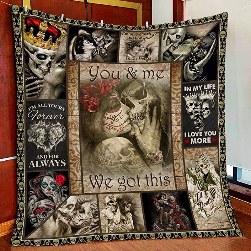 Skull Couples You And Me We Got This Fleece Blanket 50x60; 60x80