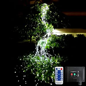 300 Led Solar Firefly Lights Outdoor Remote Control,8 Modes Timing Function Waterproof Silver Wire Solar Waterfall Watering Can Light, Fairy Lights Vines Plants Willow Holiday Christmas Decor(White)
