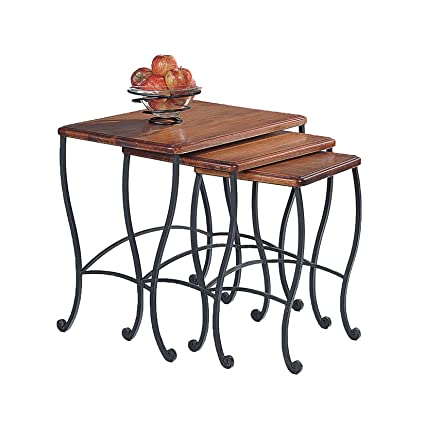 Superbe Coaster Nesting Tables, Black Iron Base Frame With Rustic Oak Wood, 3 Piece