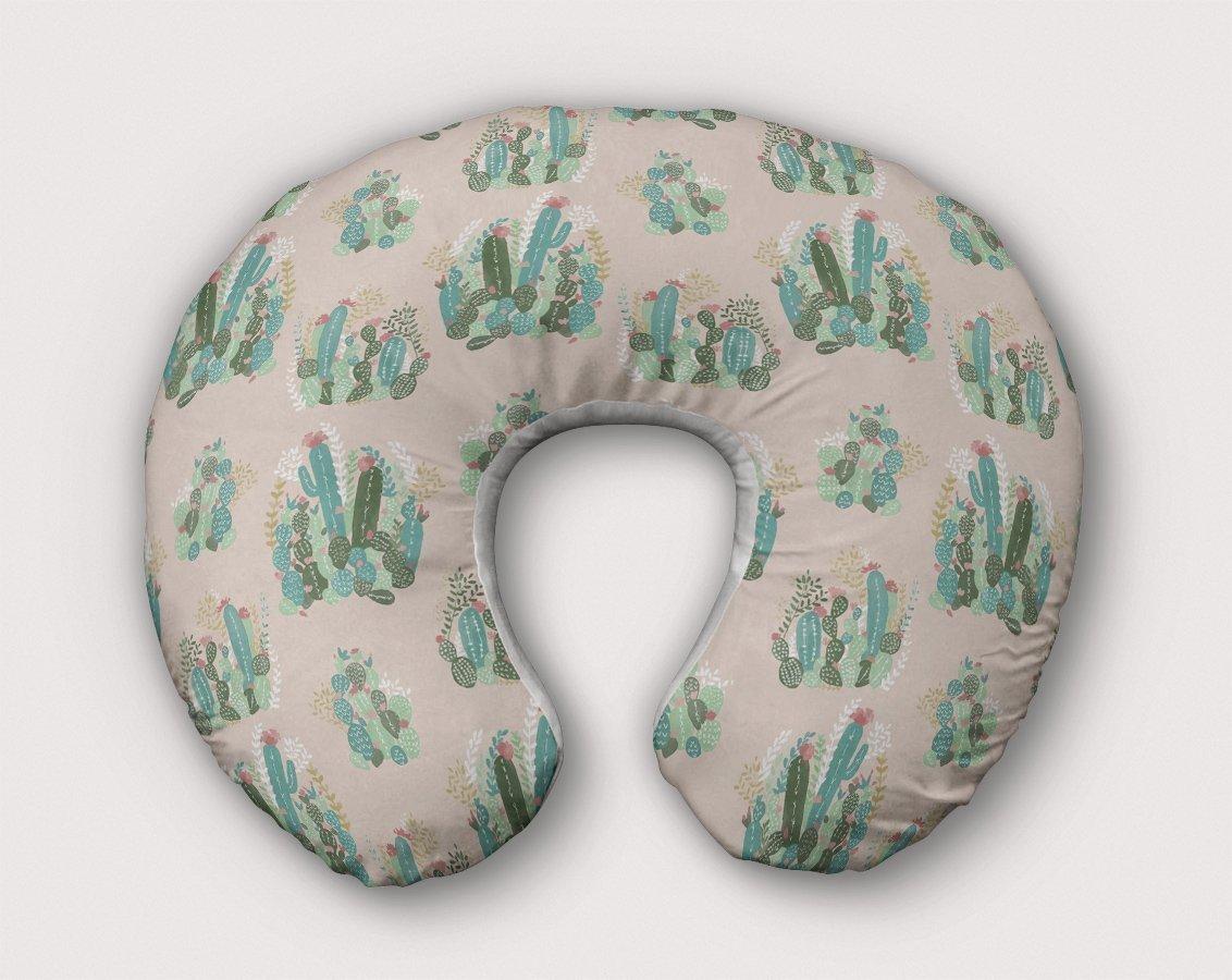 Cactus Nursing Pillow Slipcover Desert Nursery Cacti Succulent w/100% NonToxic USA Cotton/Minky