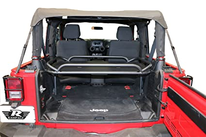 Rampage Products 86624 Black Powder Coat Finish Rear Fold Up Sport Rack For Jeep  Wrangler