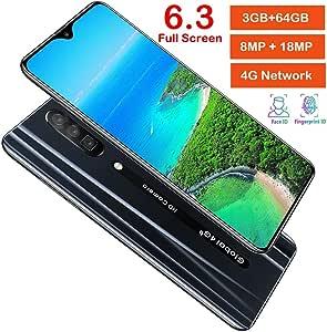 6,3 Pulgadas Pantalla Completa Reconocimiento Facial 4G Smartphone, SIM Tarjeta Dual Android 9.1 Teléfono Móvil Desbloqueado de Huella 3 + 64G con 4800mah Batería y Dual Cámara(Enchufe UE): Amazon.es: Electrónica