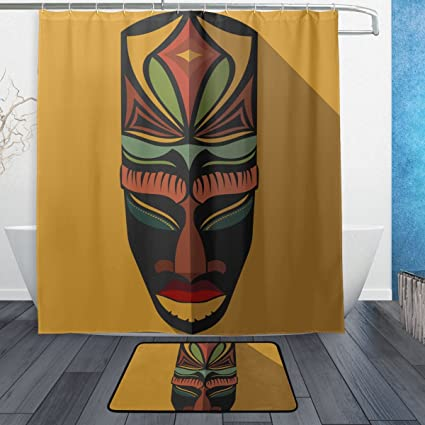 Super3Dprinted African Art Tribal Print Shower Curtain Polyester Fabric Bathroom Set Mats Rugs 12