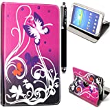 Kamal Star® Universal Premium Quality PU Leather 360 Stand Case Cover Fits All Android Tablets devices + Stylus (UNIVERSAL 10.0'' INCH, Purple Butterfly 360)