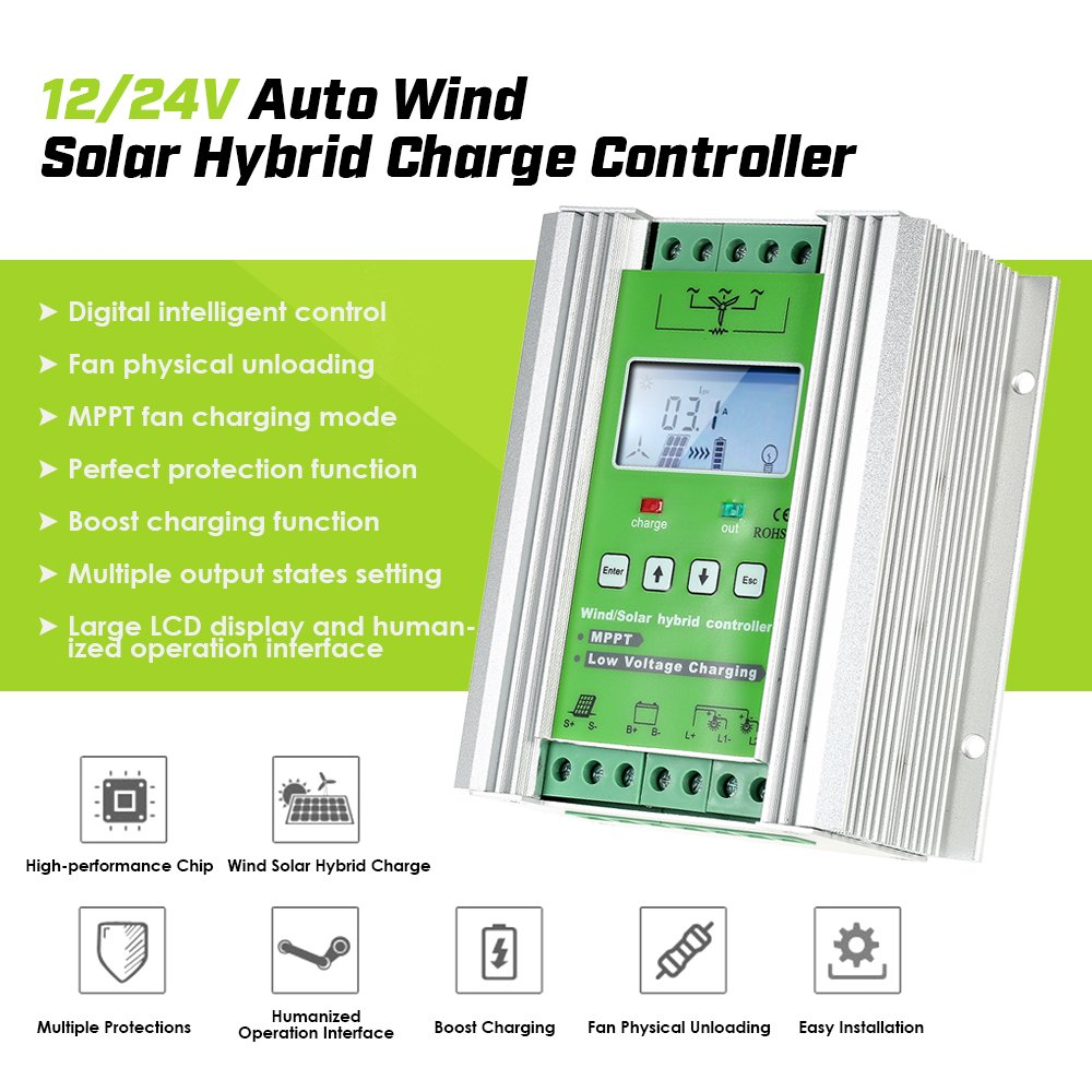 Jnge Power 1400w Off Grid Mppt Wind Solar Hybrid Turbine Dumpload Charge Controller 24v 50a For 800w 600w With Booster And Free Dump Load