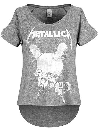 Manches Metallica Générique Inc Chiné Damage Courtes Shirt Gris T NX80ZwOknP