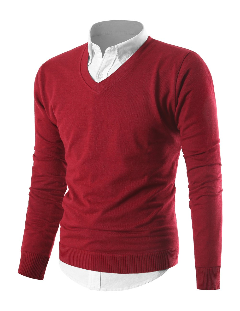 MIEDEON Mens Slim Comfortably Knitted Long Sleeve V-Neck Sweaters (Wine Red, XL)