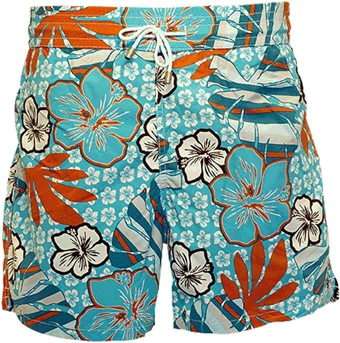 Mens Swim Trunks Great Dane Love Orange Flowers Quick Dry Beach Board Shorts with Mesh Lining