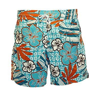 723e970d89 Bayahibe Swimwear Short Slim Fit Quick Dry French Swim Trunk for Men Blue  and Orange Pattern | Amazon.com