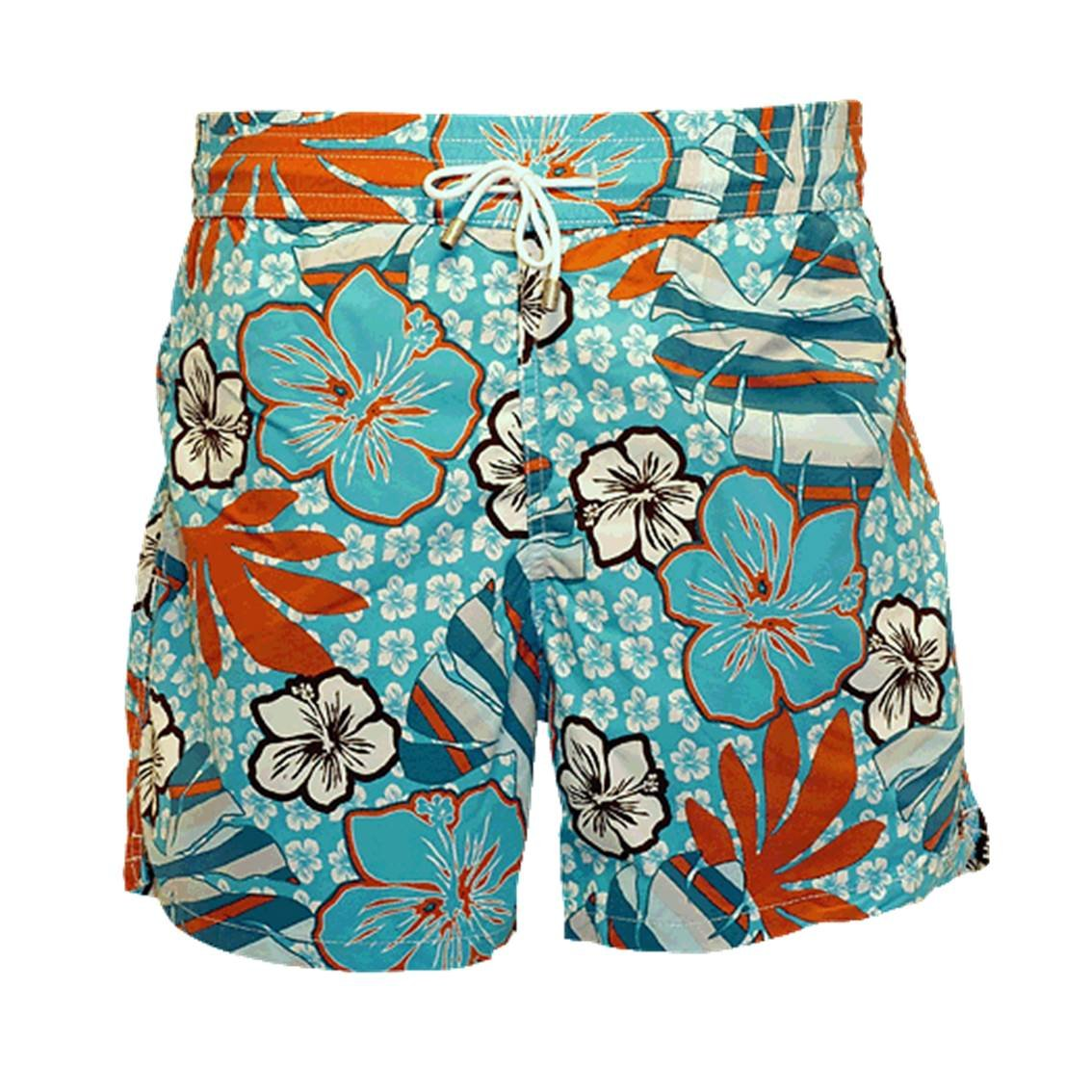 Bayahibe Men's Swim Short BAYA 8496/08 Large SkyBlue/Red Flowered Pattern