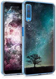 kwmobile Case Compatible with Samsung Galaxy A7 (2018) - TPU Crystal Clear Back Protective Cover IMD Design - Cosmic Nature Blue/Grey/Black