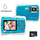 Kids Camera, 21MP HD 3M Waterproof Digital Camera for Kids, 2.0 Inch LCD Display, 8X Digital Zoom,Flash and Mic for Boys Girls Kids(Blue)
