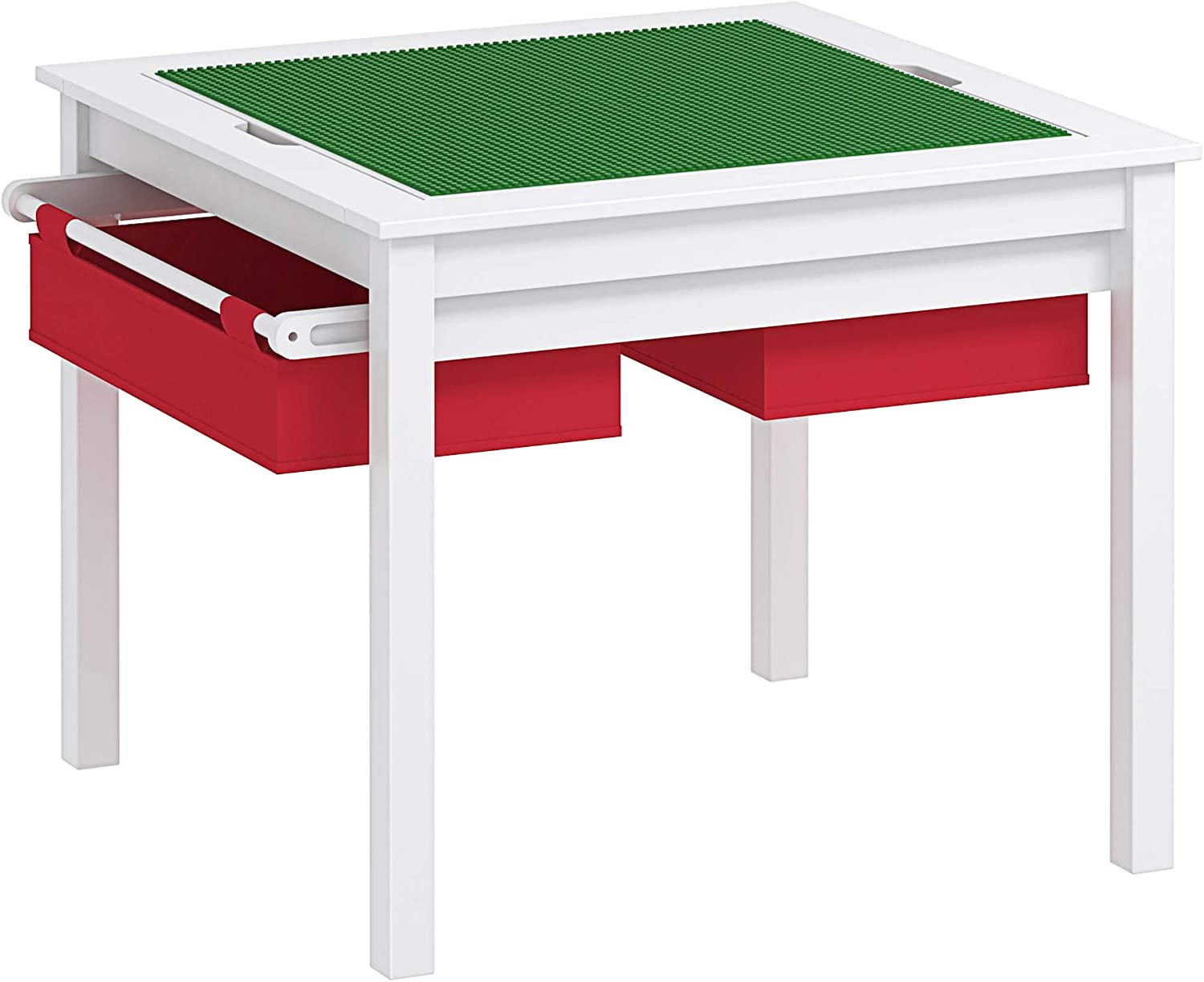 UTEX 2 in 1 Kids Construction Play Table with Storage Drawers and Built in Plate (White with Red Drwaer)