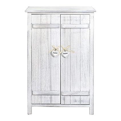 Rebecca Mobili RE4573 - Mesita de Noche con 2 Puertas de Suelo para Cocina o baño, 3 estantes Interiores, Color Blanco, Estilo Shabby Chic, 78 x 51 x ...