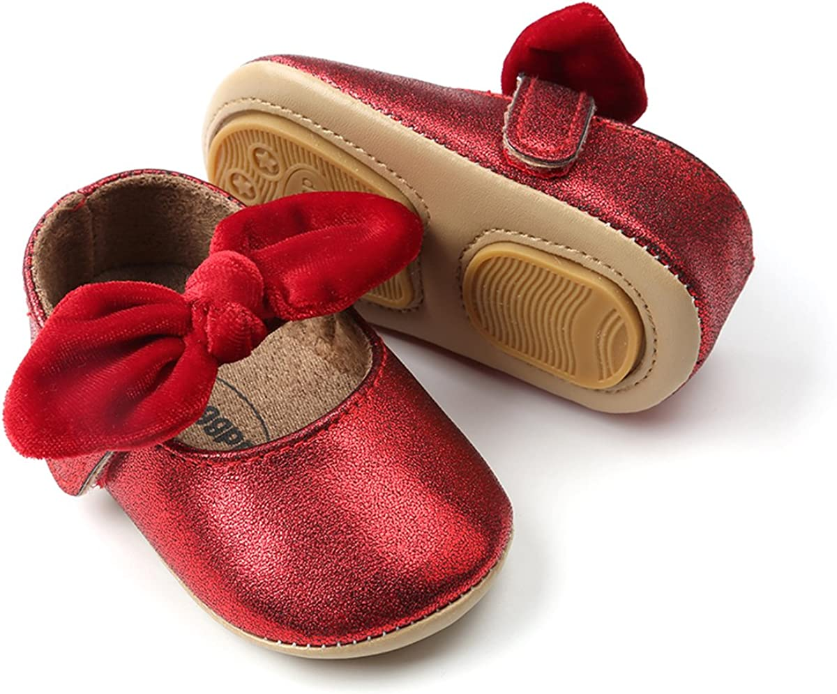   Baby Girls Mary Jane Flats Anti-Slip Rubber Sole Bow Toddler Princess Dress Shoes   Mary Jane