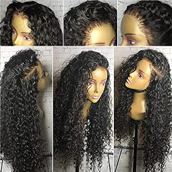 4a42add92 Amazon.com : 360 lace frontal wig 150% density Water Wave Brazilian Virgin  Human hair Full Frontal Lace Wigs Bleach Knots Pre Plucked Natural Hairline  ...