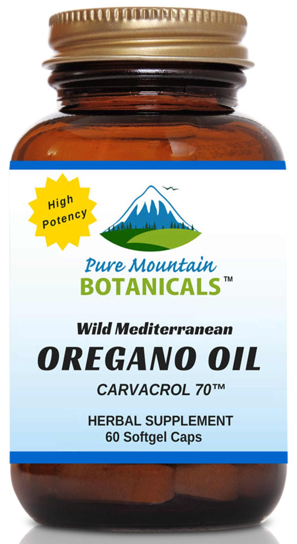 High Potency Wild Oregano Oil - 60 Vegetarian Capsules – Now with 510mg Mediterranean Oil of Oregano (70% Carvacrol) by Pure Mountain Botanicals