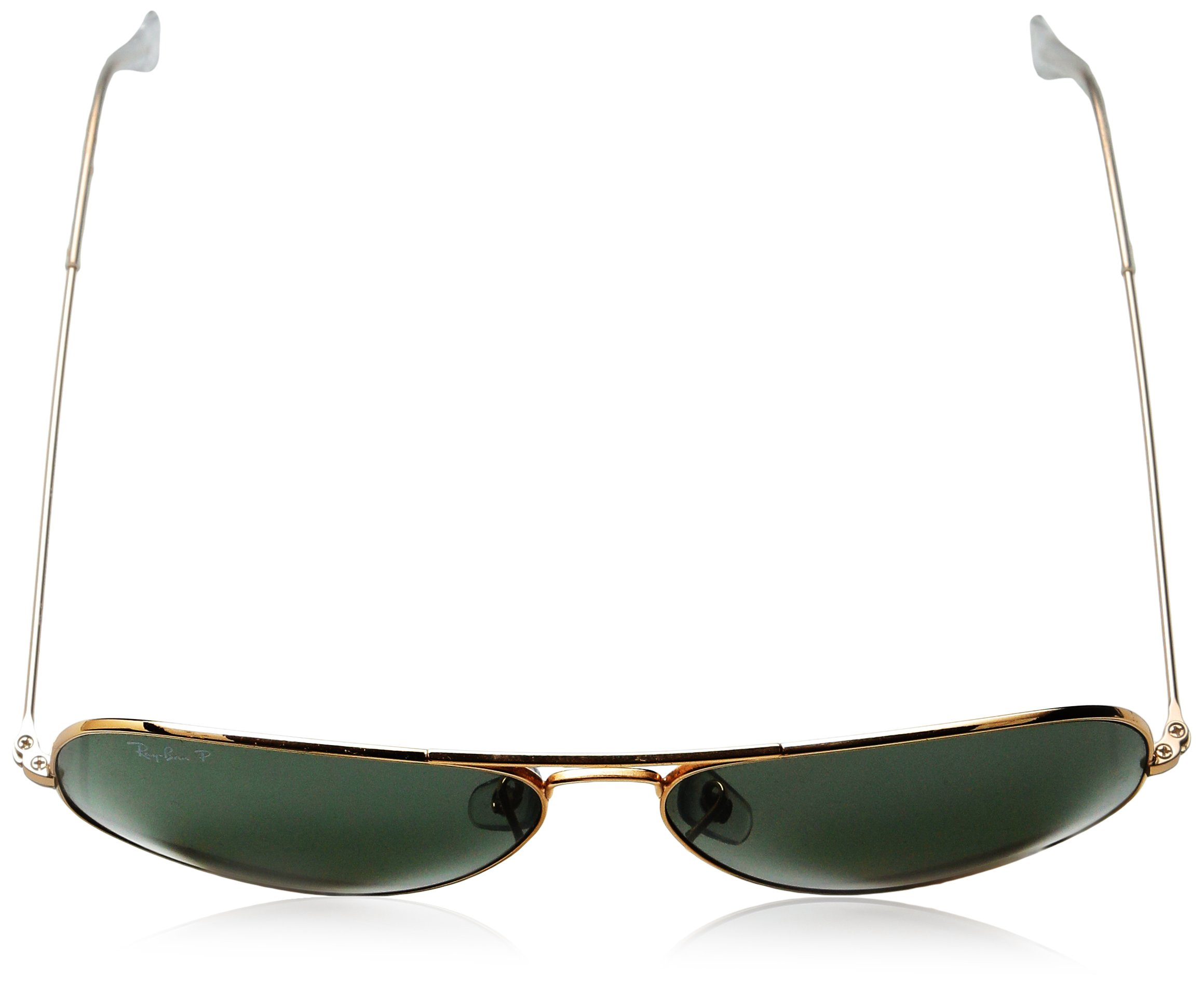 Ray-Ban 3025 Aviator Large Metal Non-Mirrored Polarized Sunglasses, Gold/Green, 62mm by Ray-Ban (Image #4)