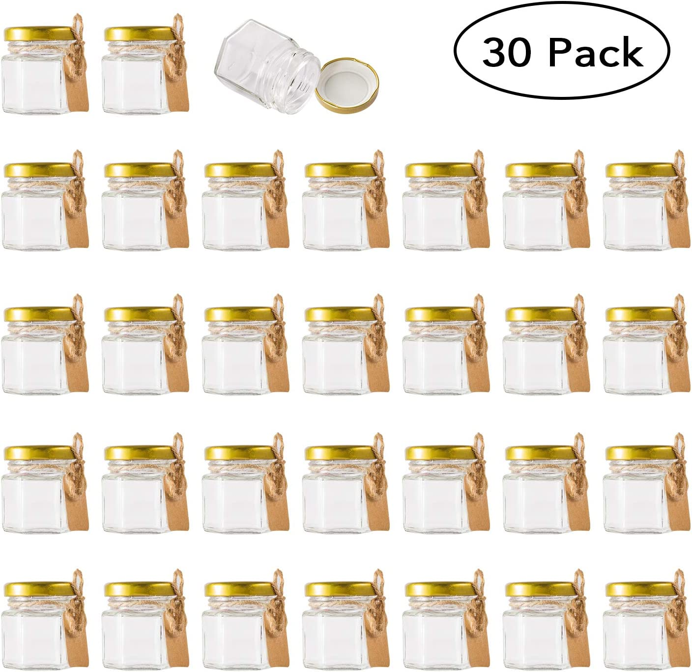 Encheng 1.5 oz Clear Hexagon Jars,Small Glass Jars With Lids(golden),Mason Jars For Herbs,Foods,Jams,Liquid,Mini Spice Jars For Storage 30 Pack …