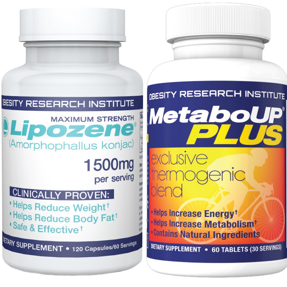 Lipozene Weight Loss Combo Mega Bottle 120 Count Plus MetaboUP Thermogenic Supplement 60 Count - Boost Metabolism, Increase Energy, and Control Your Appetite by Lipozene
