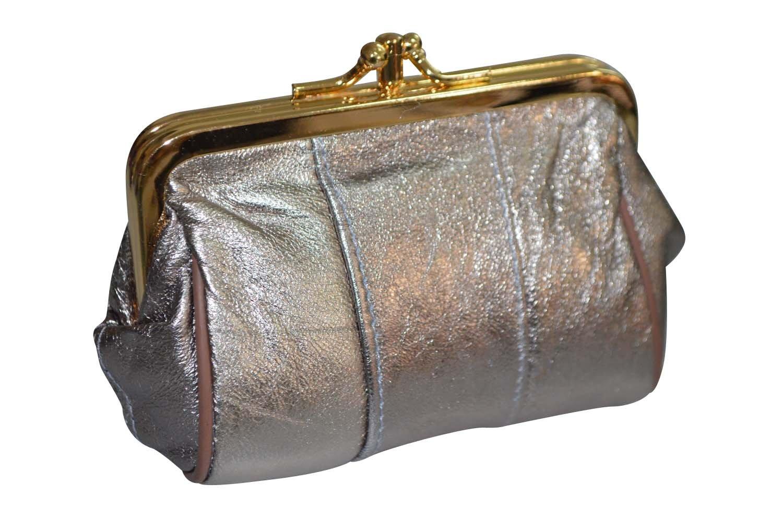 Monedero de cierre clic clac en piel de cordero, 30 colores a elegir Plateado plata