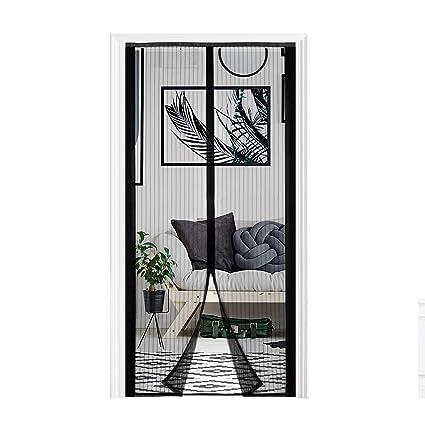 Yofit Magnetic Screen Door,Heavy Duty Mesh Curtain Self-adhesive Velcro Door Screen Fits Door Frame Size up to 36-82 Black