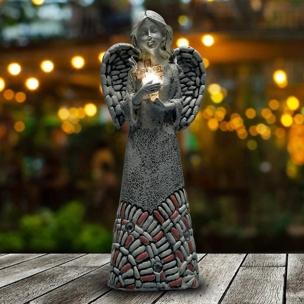 Yiosax Outdoor Garden Décor- Moonrays Garden Solar Figurine Lights in Praying Angel with Glowing a Cross Design| Memorial & Blessing Gifts(10.24