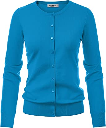 New Women Ladies Fine Knit Button Cardigan Round Neck /&  Long Sleeve Tops