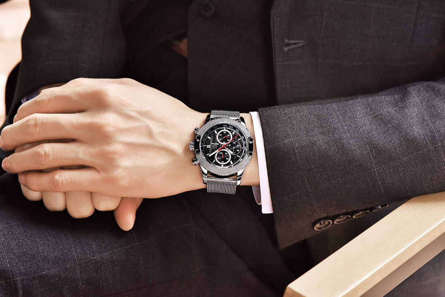 Armbandsur, mode affärskvarts klocka vattentät kalender utomhus fritid klocka Black-shell