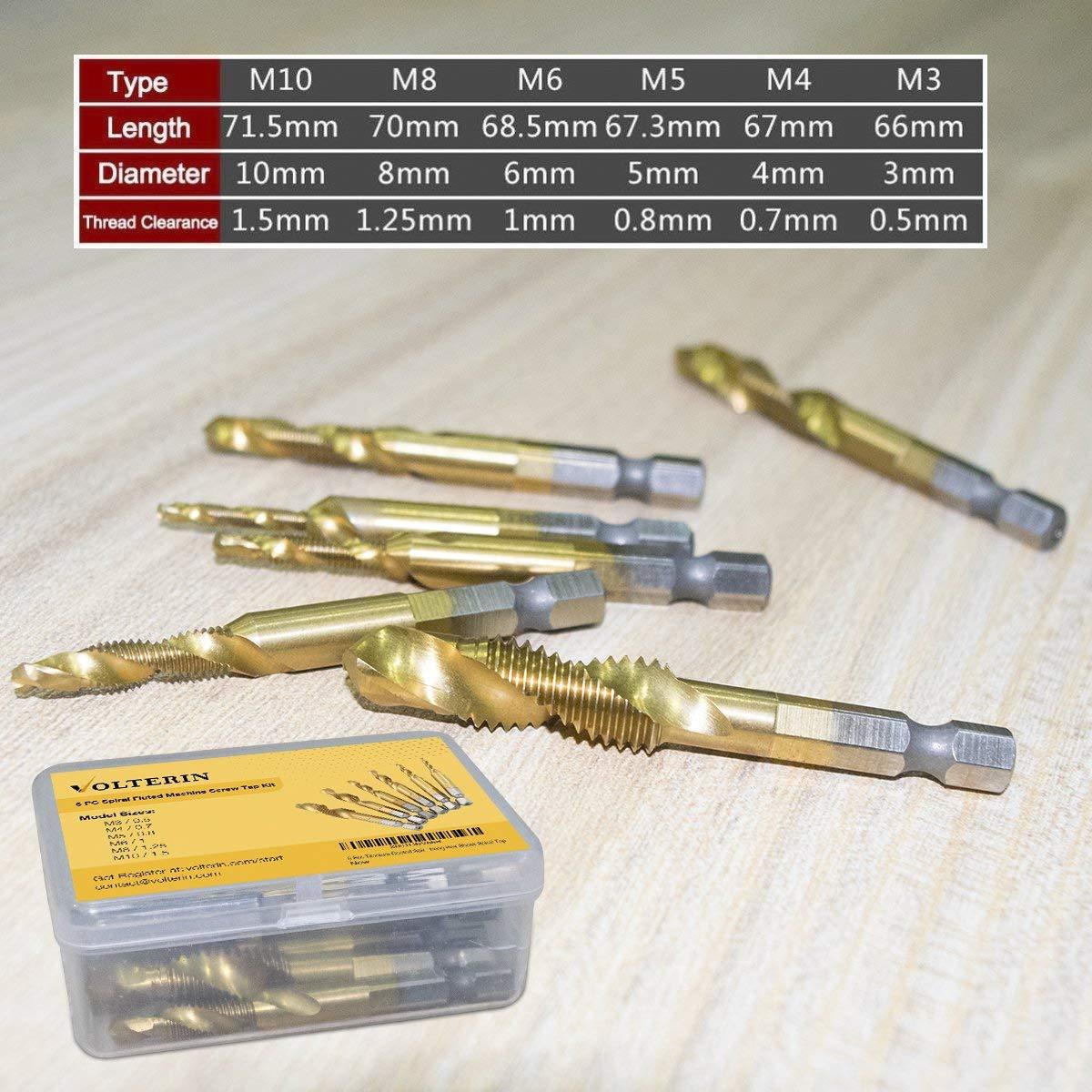 6 Pcs Titanium Coated HSS 6542 Volterin Titanium Step Drill Bit Set Multiple Hole Step Drill bit 3-Piece Set Spiral Tap Drill Bit Set by Volterin
