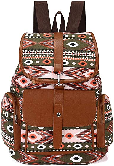 Drawstring Backpack Colorful Tribal Feather Pattern Bags Knapsack For Hiking