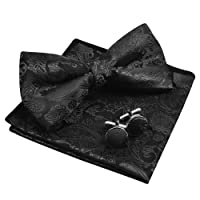 Alizeal Mens Paisley Bow Tie, Pocket Square, Cufflinks Set
