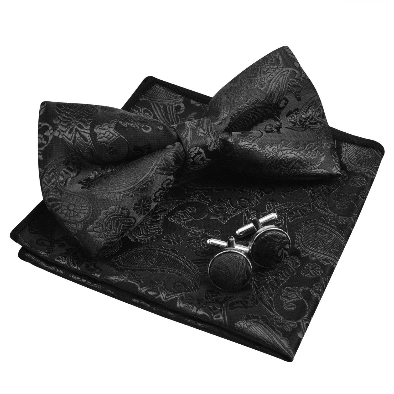 Men's Paisley Floral Jacquard Woven Party Pre-tied Bow Tie Pocket Square Set