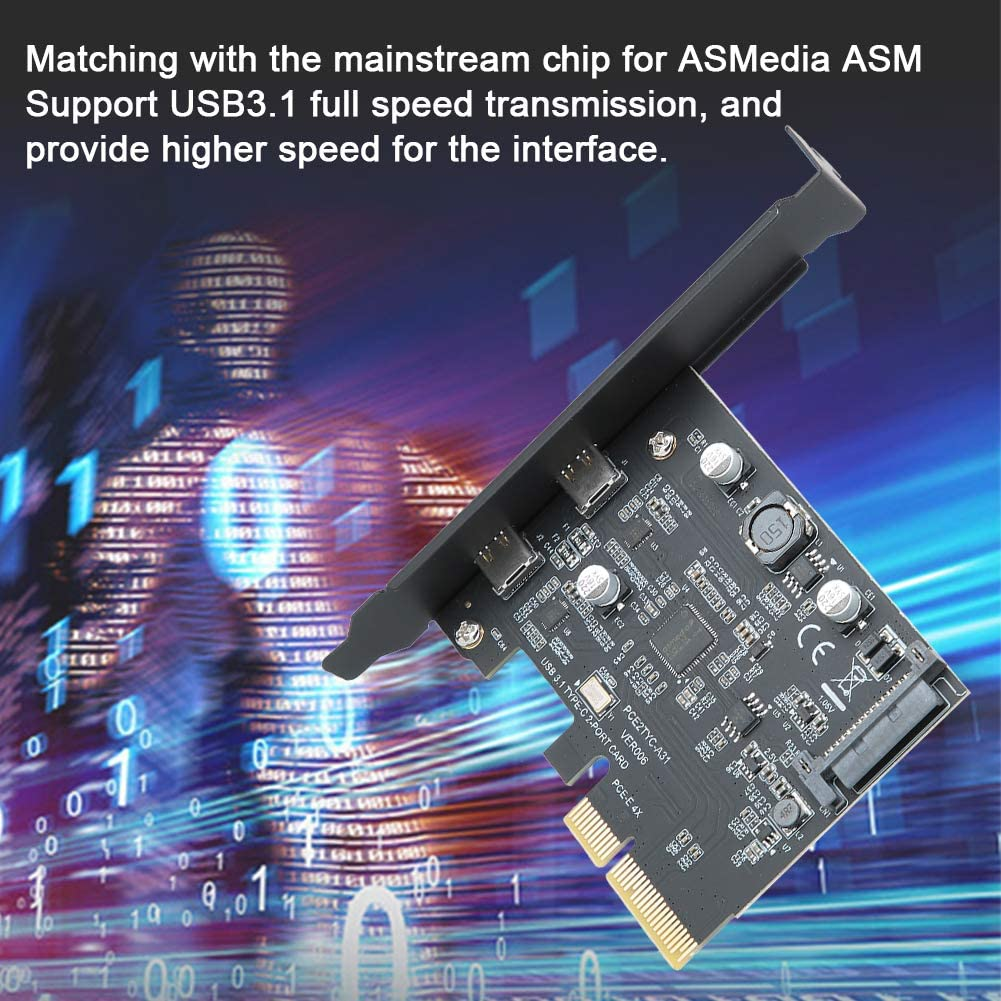 ASHATA Computer Expansion Card PCI-E USB3.1 SATA 15PIN 10Gbps Type-C Dual-Port Interface Expansion Adapter Riser Card for Desktop Computer