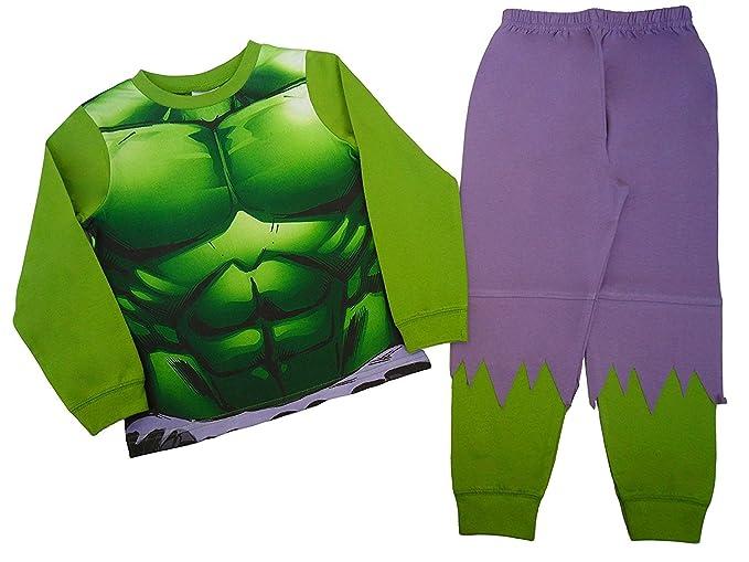 Character Boys diseño de los Vengadores de increíble Hulk pijama edad 2 A 8 años Verde