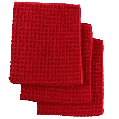 Microfiber Thick Waffle Weave Kitchen Towels Dish Cloth 3 Pack 16inch X  19inch Red